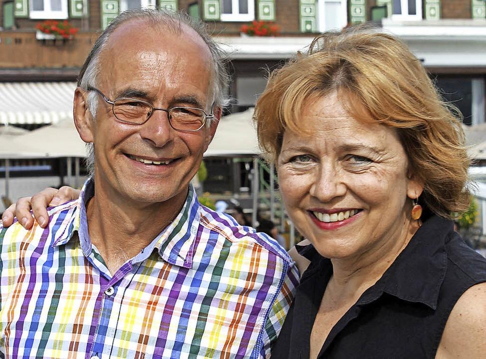 Mechthild Schmidt, die Schöpferin der ...nstlerin zusammen mit Andreas Schmidt.  | Foto: Gert Brichta