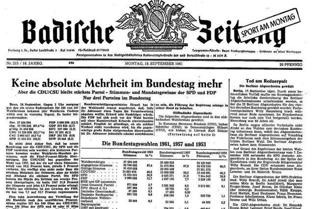 Bundestagswahl 1961: Auszüge aus der BZ-Berichterstattung