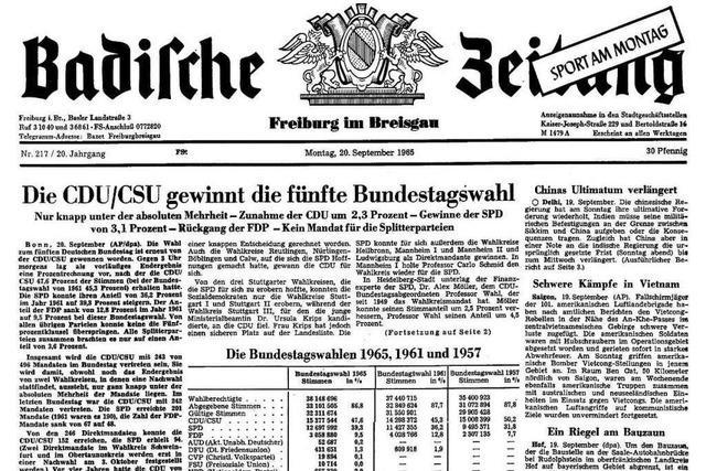 Bundestagswahl 1965: Auszüge aus der BZ-Berichterstattung