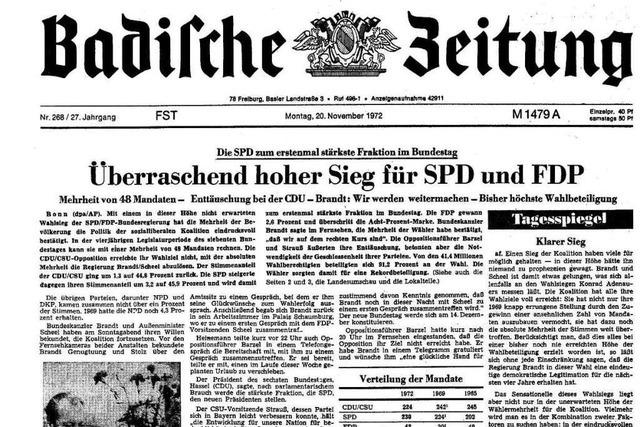 Bundestagswahl 1972: Auszüge aus der BZ-Berichterstattung