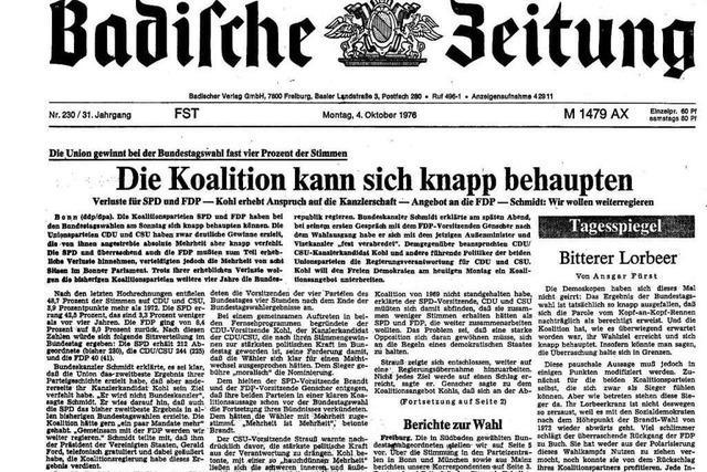 Bundestagswahl 1976: Auszüge aus der BZ-Berichterstattung