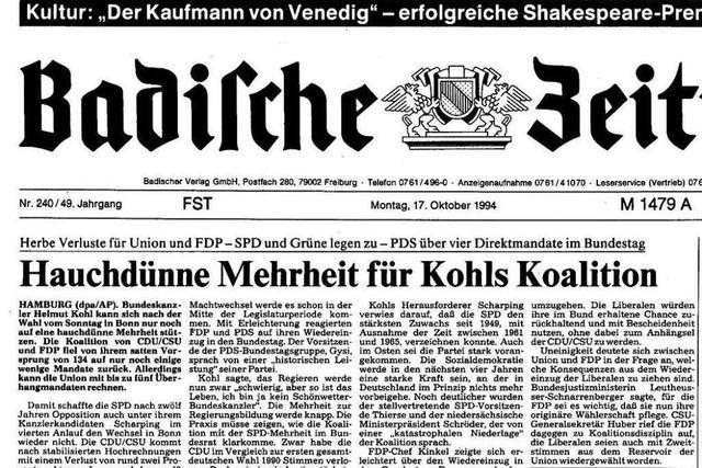 Bundestagswahl 1994: Auszüge aus der BZ-Berichterstattung