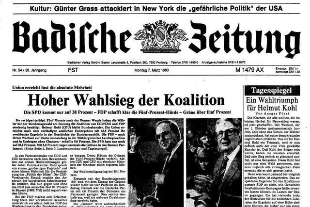 Bundestagswahl 1983: Auszüge aus der BZ-Berichterstattung