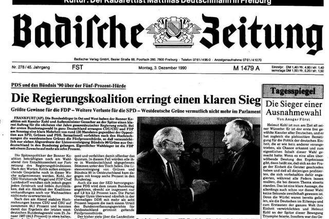 Bundestagswahl 1990: Auszüge aus der BZ-Berichterstattung