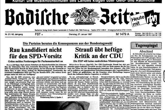 Bundestagswahl 1987: Auszüge aus der BZ-Berichterstattung