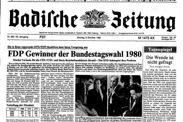 Bundestagswahl 1980: Auszüge aus der BZ-Berichterstattung