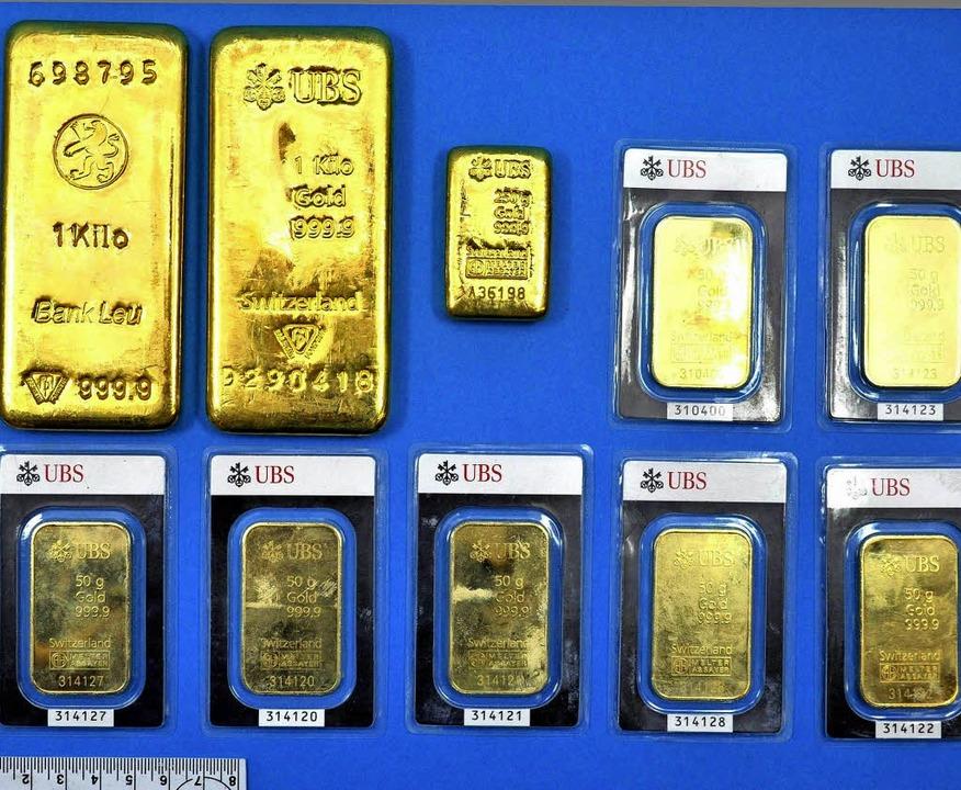 Vor fünf Jahren wurden die Goldbarren ...ungeklärt, woher das Edelmetall kommt.    Foto: Kantonspolizei Aargau