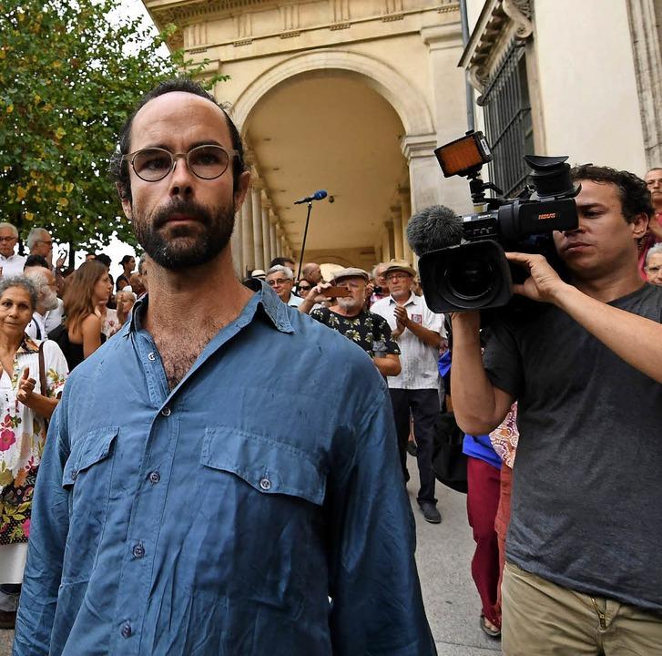 Cédric Herrou nach dem Gerichtsurteil in Aix-en-Provence  | Foto: afp