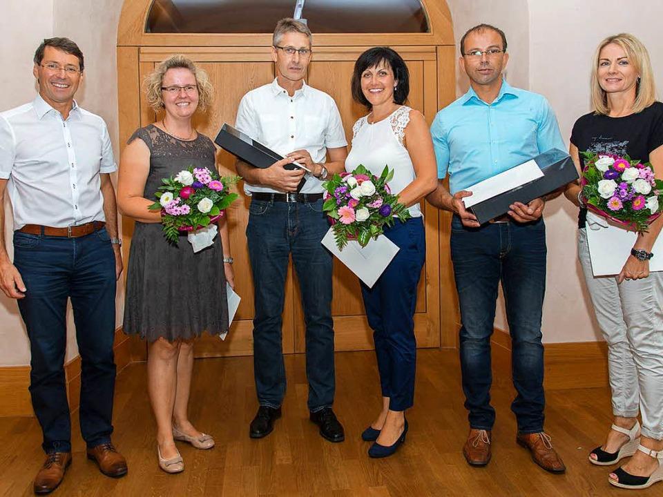 Bürgermeister Bruno Metz (von links) e...nd, Markus Ohnemus und Brigitta Meier.  | Foto: Olaf Michel