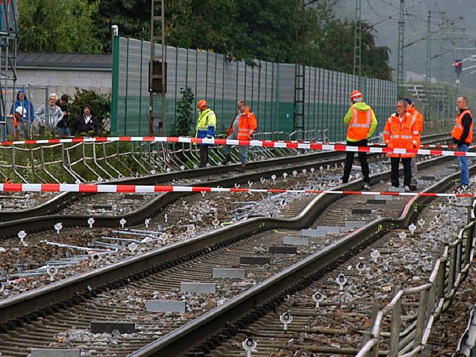 Die Rheintalstrecke bei Rastatt-Nieder...g der Gleise ist deutlich zu erkennen.    Foto: Oliver C. Krieg