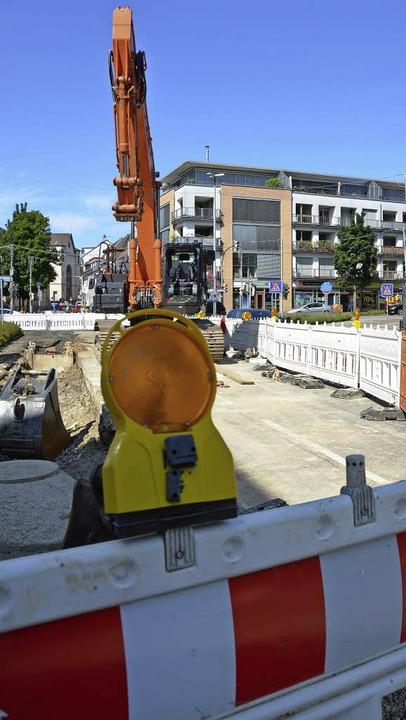 Die Baustelle Aicheleknoten in der Basler Straße mit Blick in die Innenstadt  | Foto: Sarah Beha