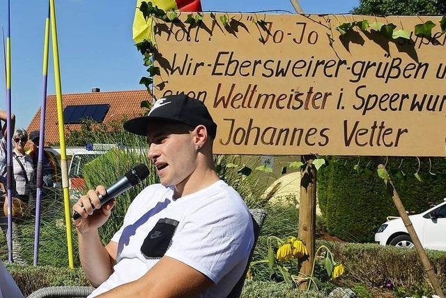 Herzlicher Empfang für Speerwurfweltmeister Vetter