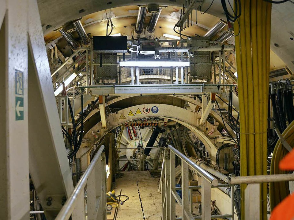 Blick auf das Schneidrad einer der ein...bohrmaschinen im Rastatter Untergrund.  | Foto: Ralf Burgmaier