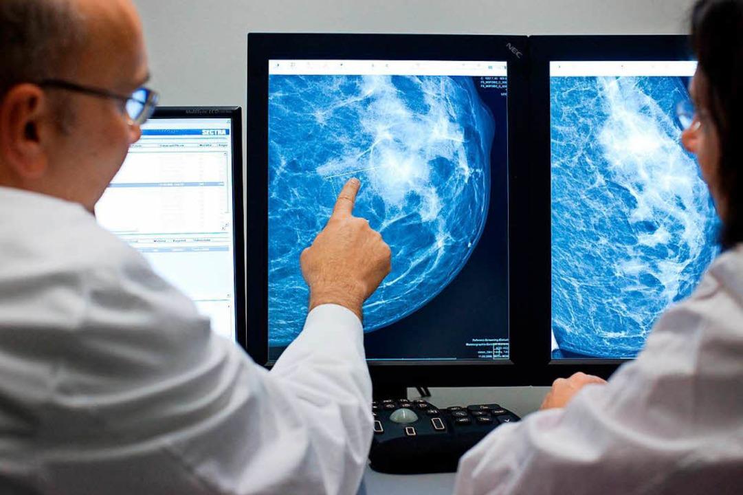 Der Radiologe Dr. Walter Heindel deute...dargestellt auf einem Computermonitor.  | Foto: Friso Gentsch