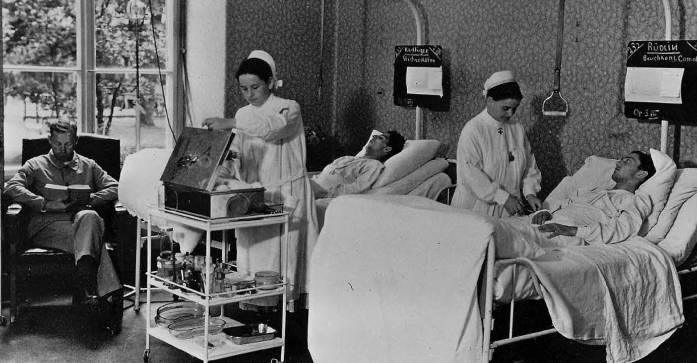 Ein Krankenzimmer im Jahr 1935   | Foto: Unispital Basel