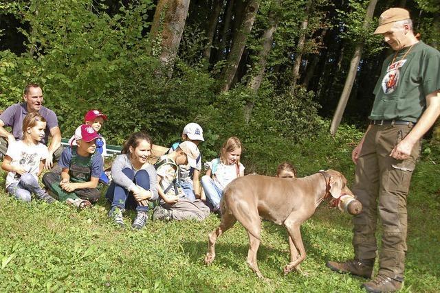 Kinder erleben den Wald mit dem Jäger
