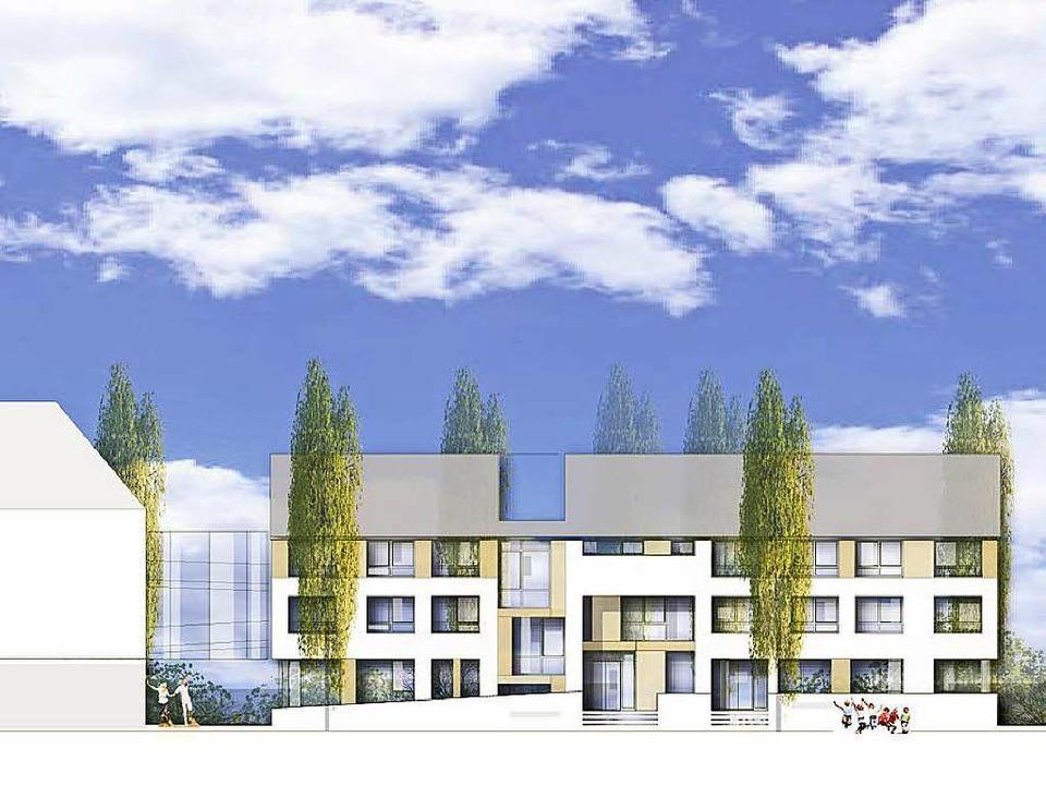Das neue Gebäude soll über einen Steg ...äude (links im Bild) verbunden werden.    Foto: Firmengruppe Orbau
