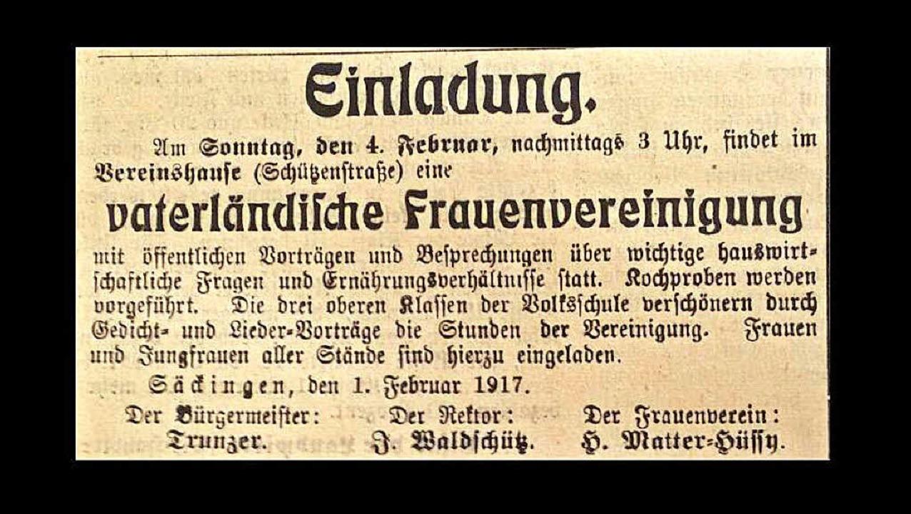 Auch Vorträge zum richtigen Kochen und...schaften im Krieg gab es in Säckingen.  | Foto: Irene Krauß
