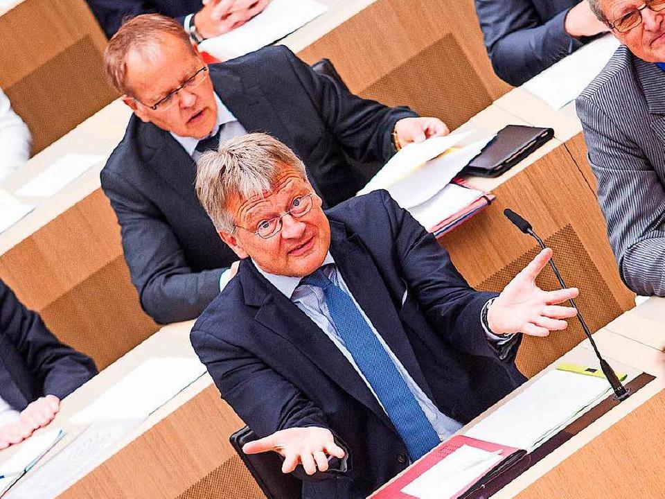 Der AfD-Fraktionsvorsitzende Jörg Meut...ner Sitzung des Landtags in Stuttgart.    Foto: dpa