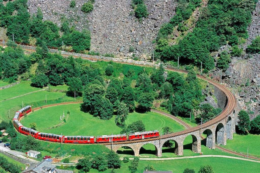 Für die Verlängerung des Todtnauerlis ...iadukt von Brusio an der Berninalinie.    Foto: Rhaetische Bahn/Peter Donatsch
