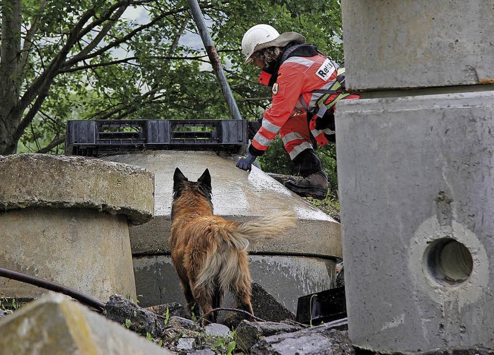 Ein Team der Rettungshundestaffel Ober...r Personensuche auf einem Trümmerfeld.  | Foto: RSHO