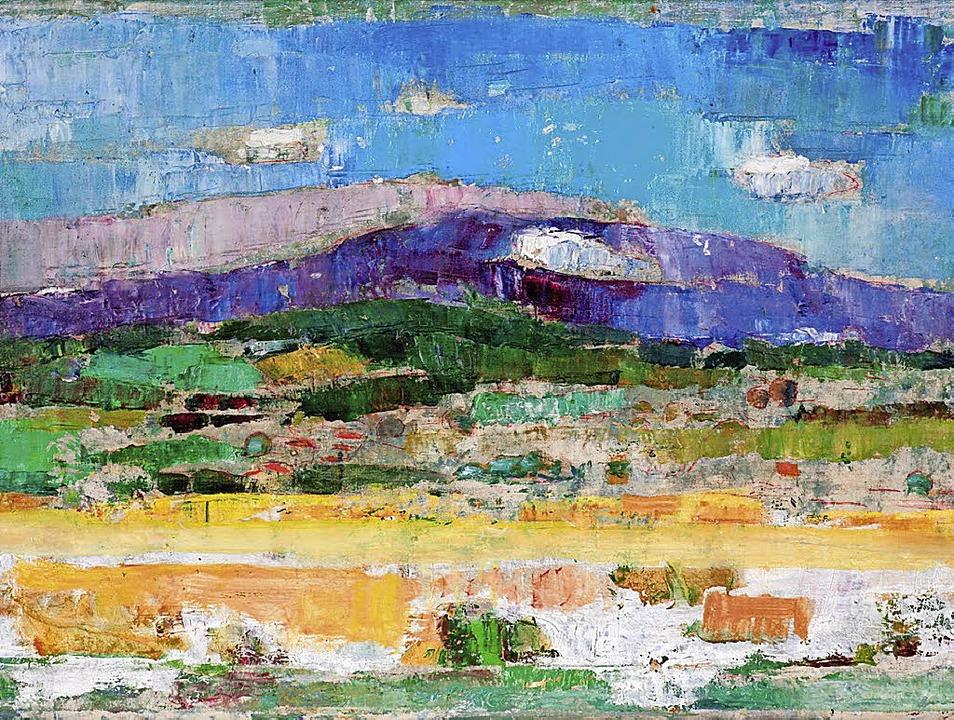 """Die Markgräfler Landschaft aus der Sic...22;Der Blauen"""" von Adolf Strübe.    Foto: Markgräfler Museum"""