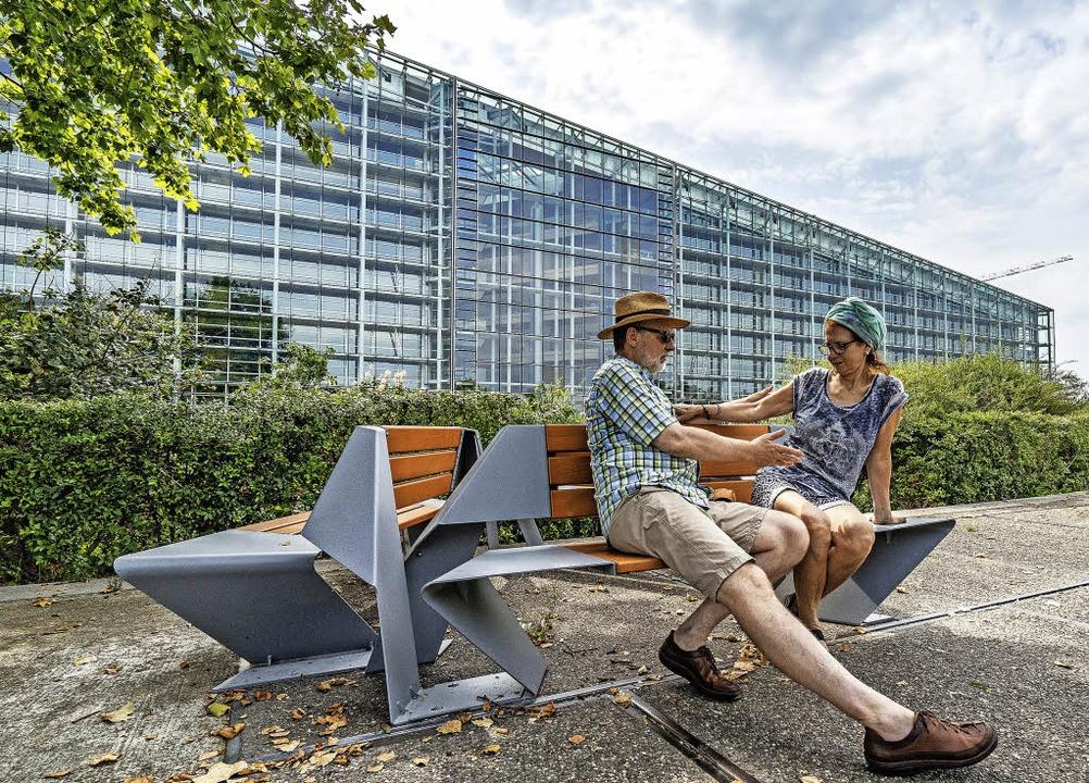 Designer aus den EU-Ländern entwarfen ...enheiten mit Blick aufs EU-Parlament.     Foto: teli
