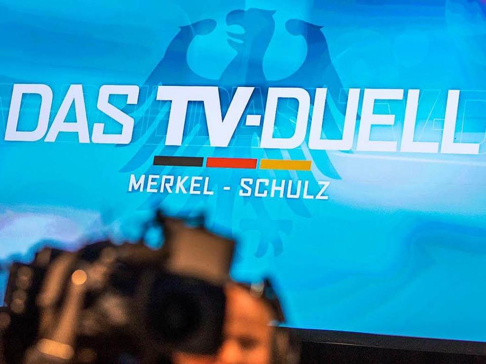 """Auf vier Sendern wird """"Das TV-Duell"""" am Sonntagabend zu sehen sein.     Foto: dpa"""