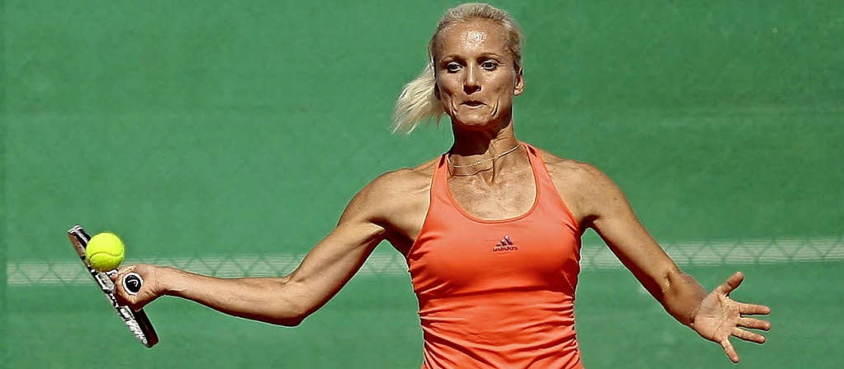Angelika Roesch (TC RW Baden-Baden) ge...n die Damenkonkurrenz am  Kahlenberg.     Foto:  Peter Aukthun