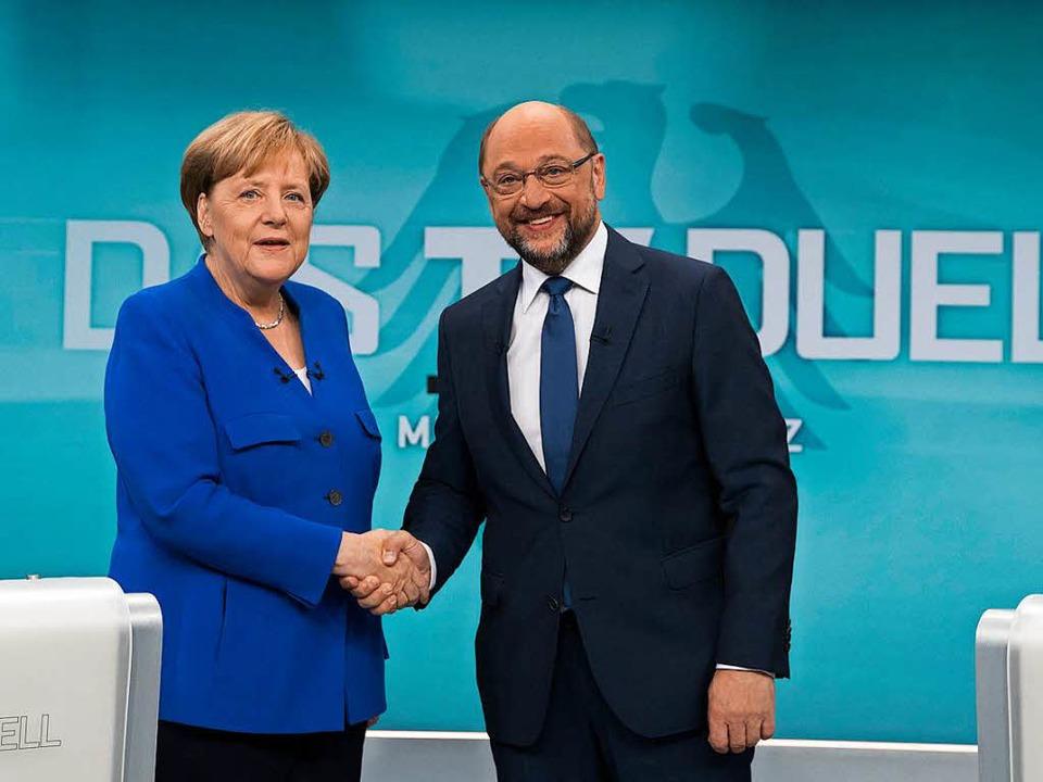Martin Schulz ist im TV-Duell mit Angela Merkel in die Offensive gegangen.  | Foto: dpa