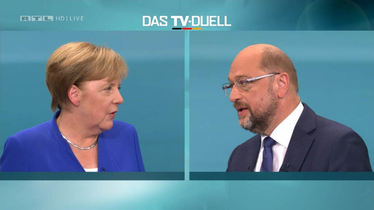 Duell auf Augenhöhe zwischen Merkel und Schulz beim TV-Duell  | Foto: dpa