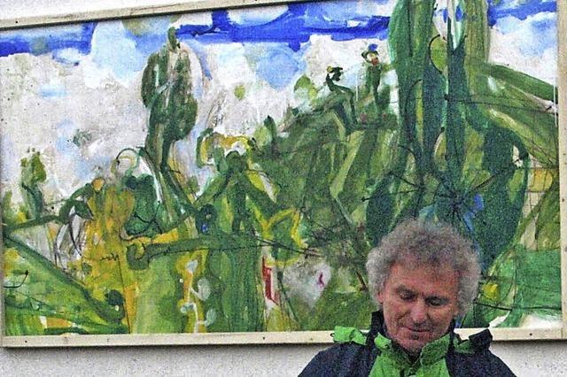 Künstler verewigt sich auf Stolls Hofwand