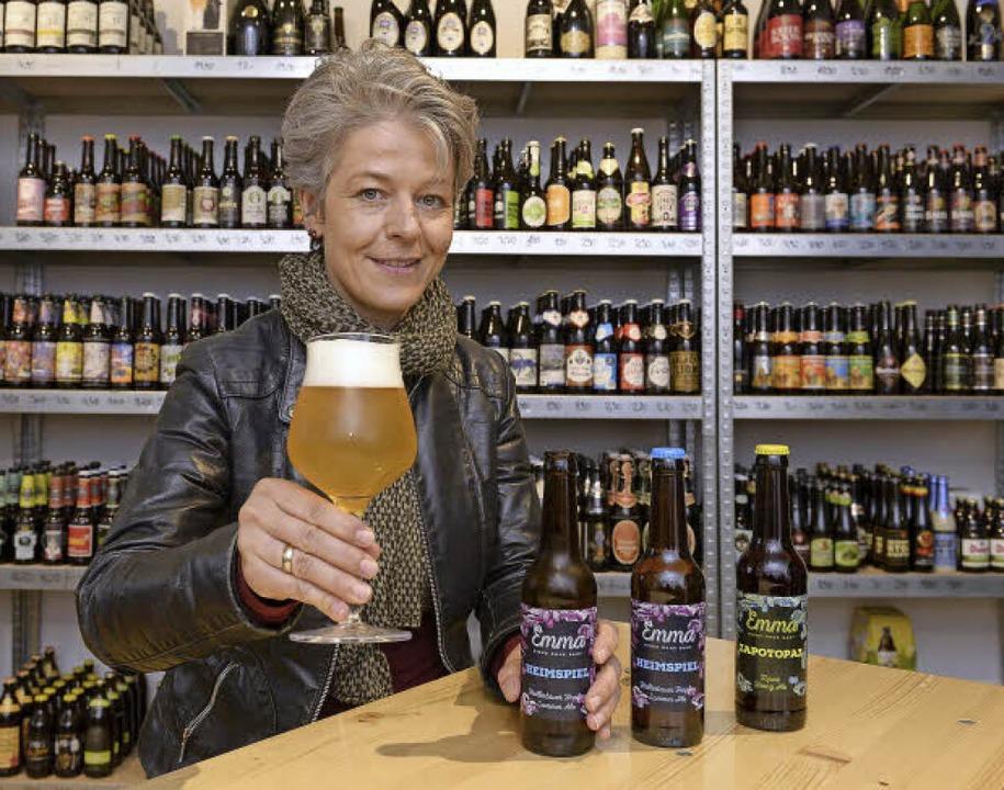 In der Craft-Beer-Lodge an der Salzstr...in  Almut Emma Zinn  probiert werden.     Foto: Ingo Schneider