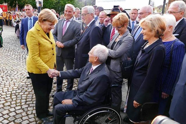 Merkel und Juncker gratulieren Schäuble in Offenburg zum 75.
