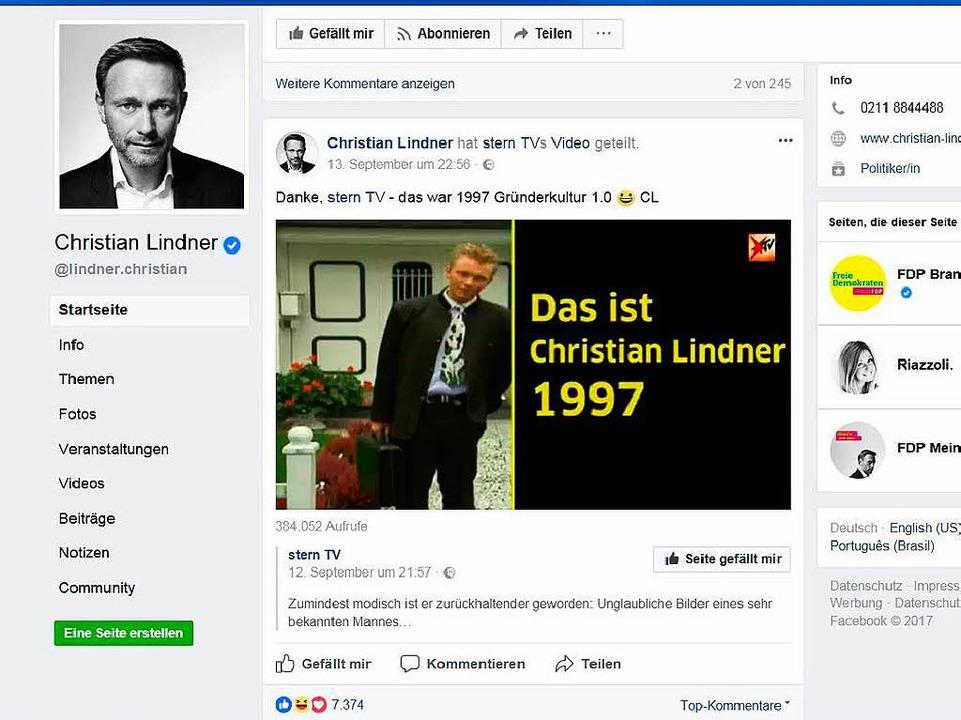 Auftritt mit Selbstironie: FDP-Chef Christian Lindner auf Facebook   | Foto: BZ/Nora Bibel
