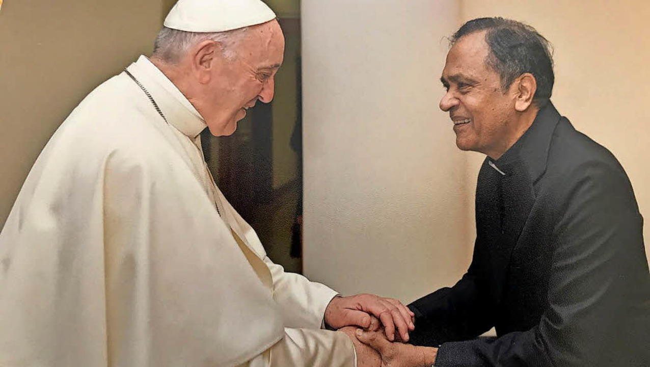 Papst Franziskus hat Father Joe Pereira in Rom empfangen.   | Foto: Privat