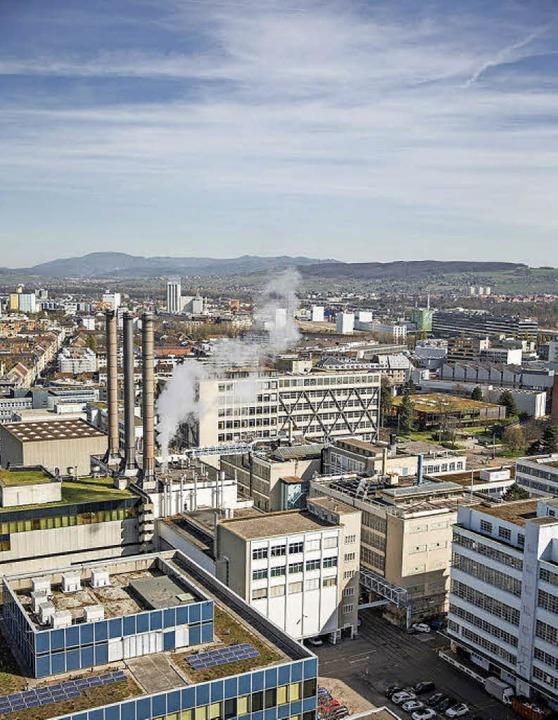 Blick ins Klybeckareal: In der Mitte s...nt, wo ein neuer Platz angedacht ist.   | Foto: BASF