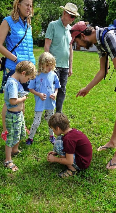Entdeckungstour:  Nico (rechts) erklärt Kindern die Natur.  | Foto: Rolf Müller