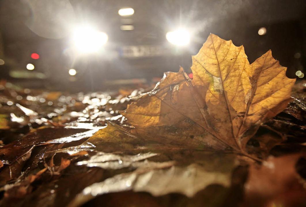 Dunkelheit, rutschiges Laub und Regen....lsweise rechtzeitig Tempo rausnehmen.   | Foto: Bodo Marks/dpa