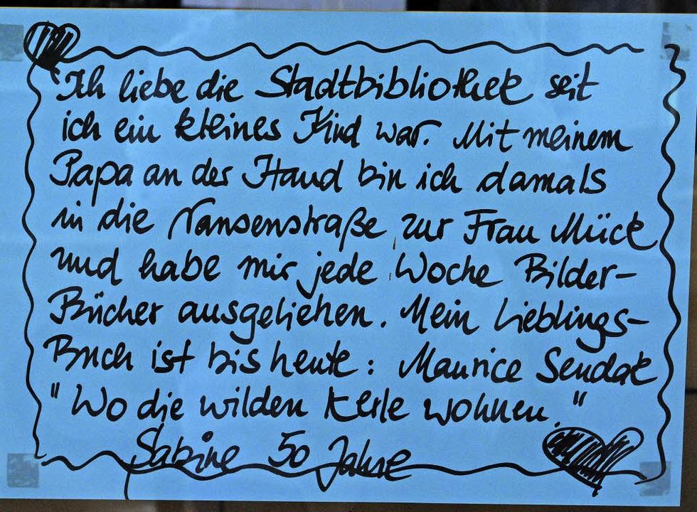 Ein Liebesbrief an die Stadtbibliothek  | Foto: Thomas Loisl Mink