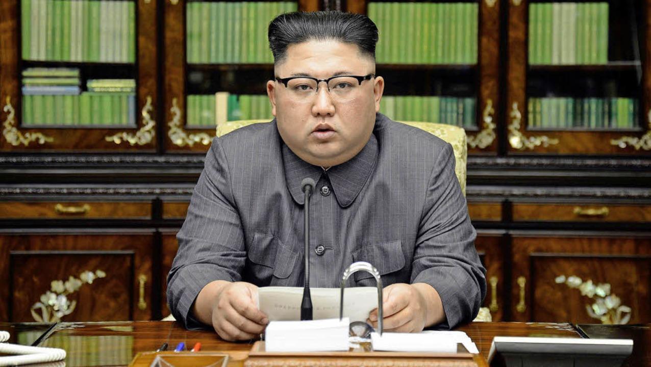 Antwortet US-Präsident Donald Trump: Nordkoreas Herrscher Kim Jong-Un.  | Foto: DPA