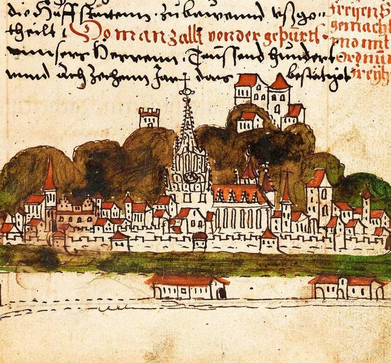 Freiburg Anfang des 16. Jahrhunderts. Hier war Joß Fritz besonders gefürchtet.    Foto: Bad. Landesbibliothek