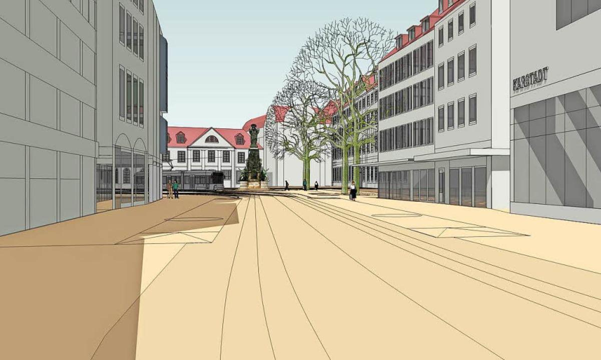 Blick von der Kajo auf den künftigen Platz mit dem  Siegesdenkmal.