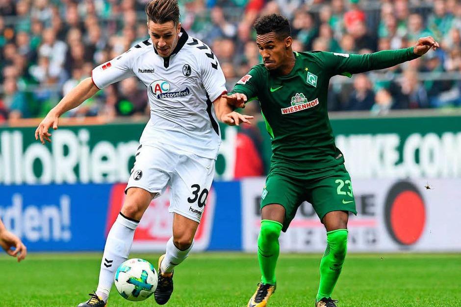 Kein durchkommen für beide Mannschaften: Bremen fehlte die Präzision, Freiburg in der zweiten Hälfte die Ideen. (Foto: dpa)