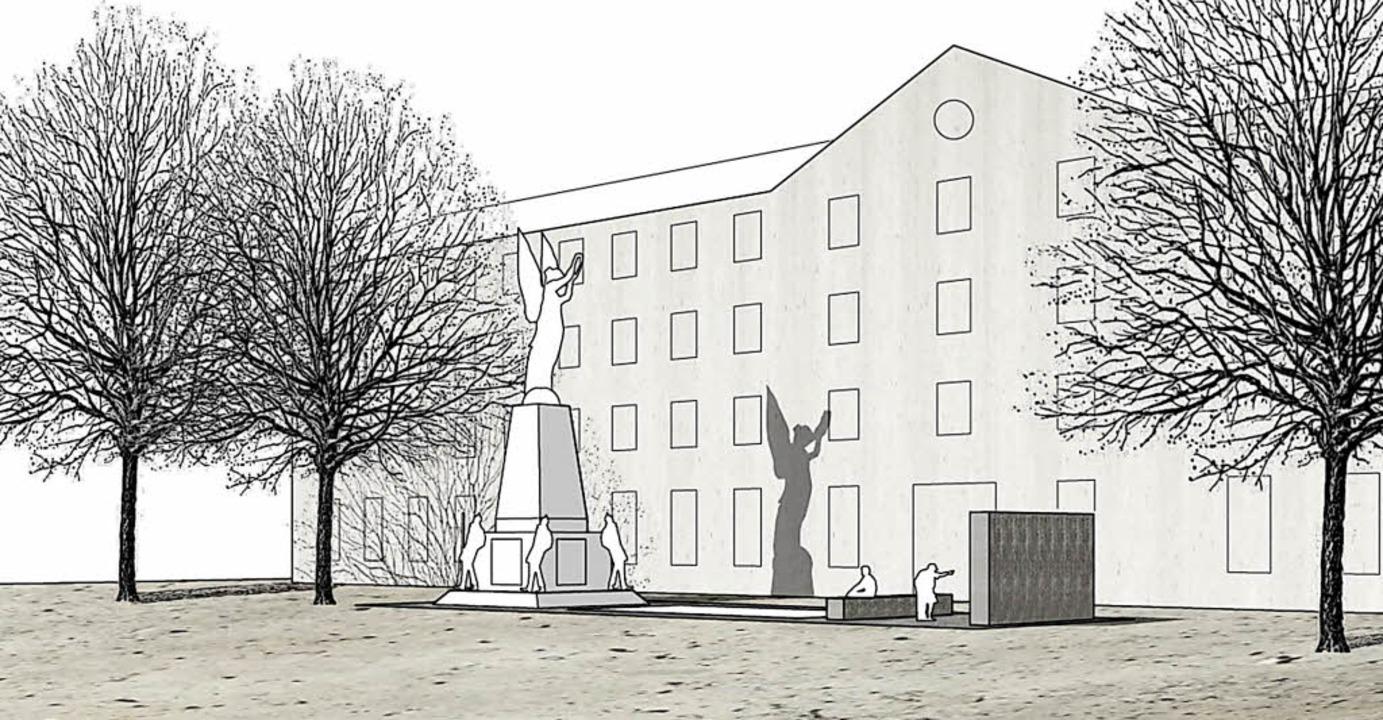 Ein Favorit der Kunstkommission: Denkmal mit Opferfeld und Sitzbank    Foto: Repro BZ