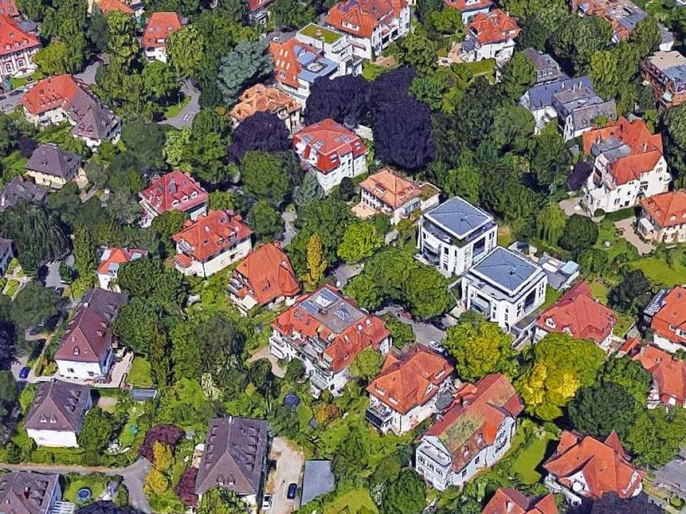Bauliche Veränderungen in der Wiehre s...Google-Luftbild fallen diese ins Auge.  | Foto: Google-Luftbild/GeoDasis-DE/BKG