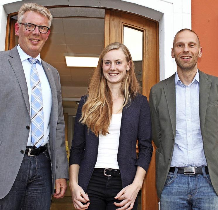 Gottenheims Bürgermeister Christian Ri...es und ihrem Vorgänger Thomas Barthel   | Foto: schöneberg