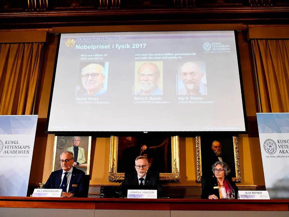 Die US-Wissenschaftler Barry Barish,  ...isträger des Physik-Nobelpreises 2017.  | Foto: AFP