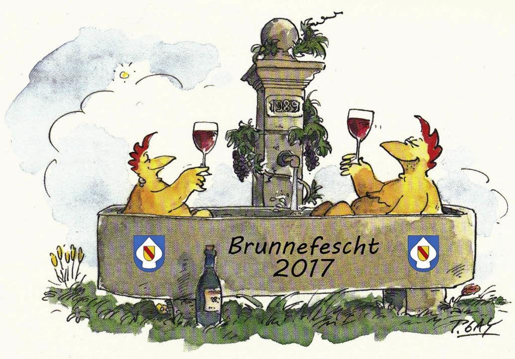 Da lachen die Hühner: Am kommenden  So...nnen das Brunnenfest über die Bühne.    | Foto: Karikatur: Peter Gaymann/Bearbeitung Gerhard Schaum