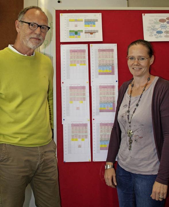 Ernst Niepmann und Kristina Peper präs...d die auch verbleibende Halbtagsschule  | Foto: Rolf Reißmann